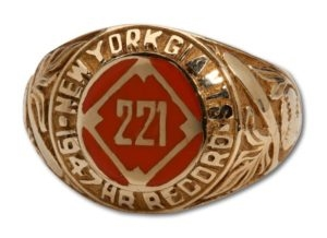1947 Bill Rigney New York Giants 221 HR Ring (MEARS LOA)