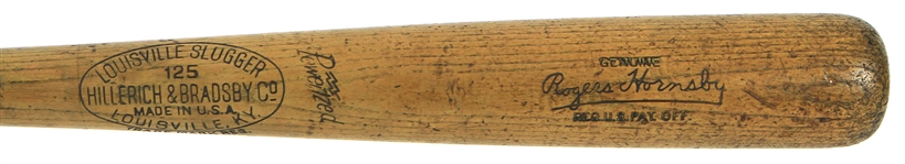 1934-1944 Rogers Hornsby H&B Louisville Slugger Professional Model Team Index Bat (MEARS A8)