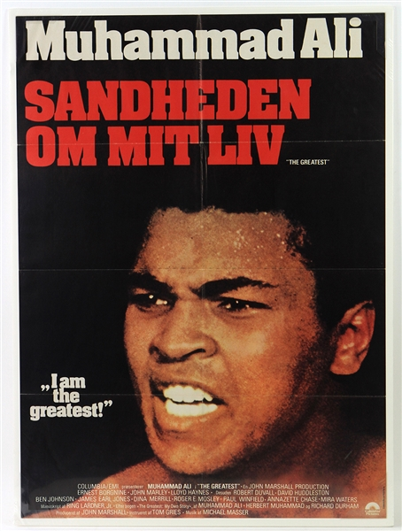 "1977 Muhammad Ali The Greatest 24"" x 33"" Danish Language Movie Poster"