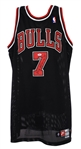 1997-98 Toni Kukoc Chicago Bulls Signed Game Worn Alternate Uniform (MEARS A10/JSA/Team Letter) NBA Champions
