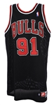 1997-98 Dennis Rodman Chicago Bulls Signed Game Worn Alternate Uniform (MEARS A10) NBA Champions