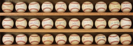1980s-90s Signed Baseball Collection - Lot of 32 w/ Stan Musial, Steve Carlton, Curt Flood, Bob Gibson, Monte Irvin, Duke Snider & More (JSA)
