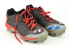 2015 Wilson Ramos Washington Nationals Signed Game Worn Under Armour Cleats (MEARS LOA/JSA)