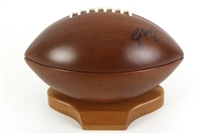 1990s Brett Favre Green Bay Packers Signed Wooden Football w/ Display Stand (JSA)