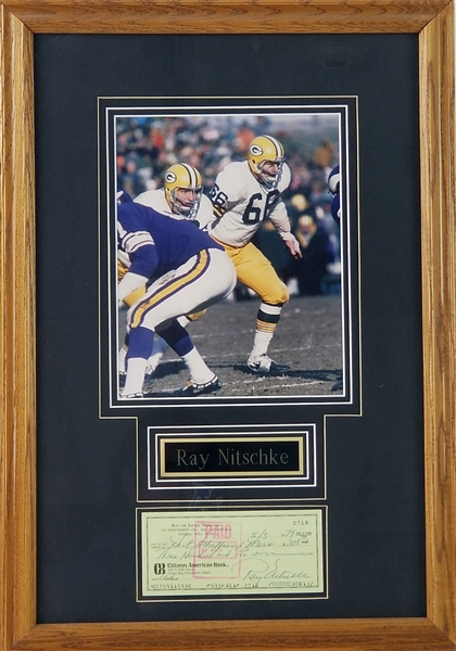 "1979 Ray Nitschke Green Bay Packers 15"" x 22"" Framed Display w/ Signed Check (JSA)"