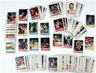 1976-77 Topps NBA Basketball Cards including Jabbar, Dr. J, Rick Barry, and more