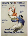 1952 Green Bay Packers vs Washington Redskins Official Program