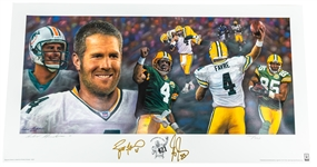 "2007 Brett Favre Greg Jennings Green Bay Packers Signed 18"" x 34"" 421st Career TD Pass Lithograph (JSA) 300/421"