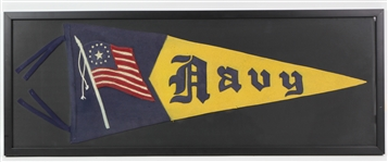 "1917-18 Navy 14.5"" x 37.5"" Framed WW1 Full Size Felt Pennant"