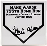 "1976 Hank Aaron Milwaukee Braves 755th Home Run Signed 6"" x 6"" Ceramic Home Plate (JSA)"