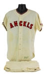 1963 Bo Belinsky Los Angeles Angels Game Worn Home Uniform (MEARS A10)