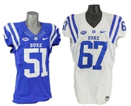 2000s Lucas Patrick & Victor Dimukeje Duke Blue Devils Game Worn Football Jerseys - Lot of 2 (MEARS LOA)