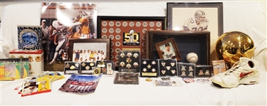 1970s-1990s Football, Baseball, Basketball Photos, Banners, Collector Coins, & more... (Lot of 130+)
