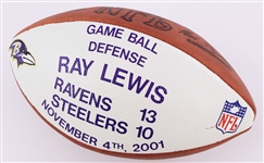 2011 (November 4) Ray Lewis Baltimore Ravens Defensive Game Ball ONFL Tagliabue Presentation Football (MEARS LOA)
