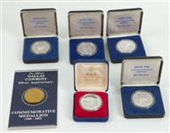 1985 Dallas Cowboys Silver Anniversary Medallions - Lot of 5 + Operation Desert Shield Silver Coin