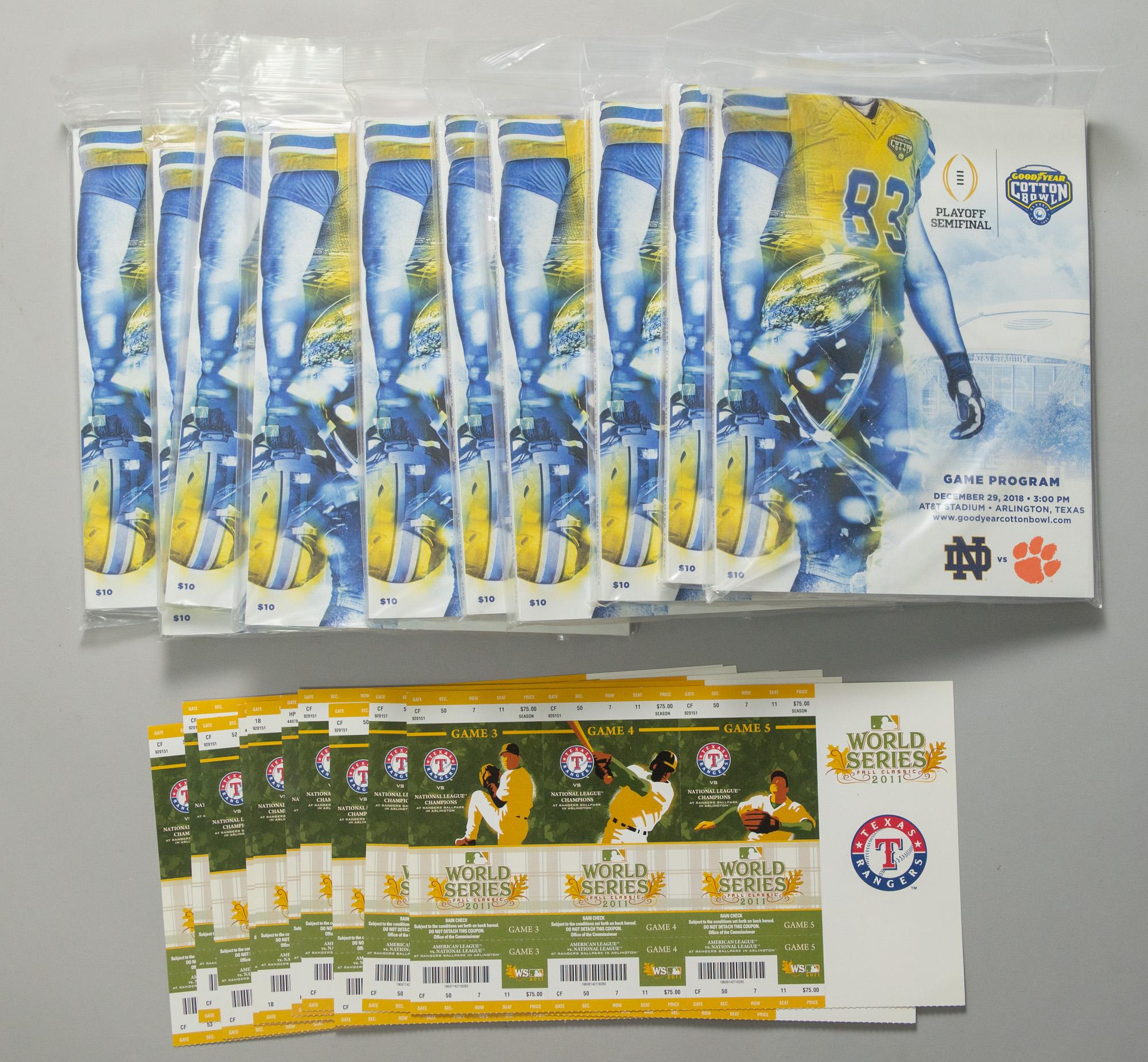 Lot Detail - 2011-2018 Texas Rangers World Series Tickets ...