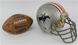1983-85 Tampa Bay Bandits USFL Game Worn Helmet & Official USFL Chet Simmons Football - Lot of 2 (MEARS LOA)