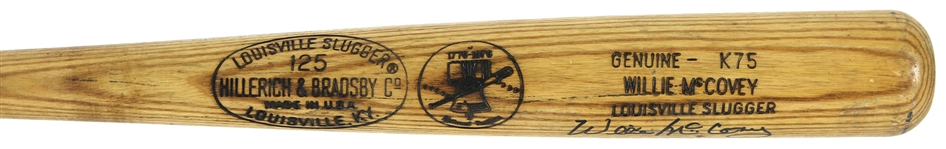 1976 Willie McCovey Padres/Athletics Signed H&B Louisville Slugger Professional Model Game Used Bicentennial Bat (MEARS A10/JSA & PSA/DNA GU 10)