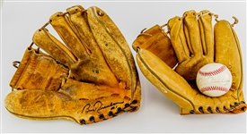 1950s-90s Bobby Richardson New York Yankees Memorabilia Collection - Lot of 3 w/ Store Model Mitt, Signed Store Model Mitt & Signed OAL Brown Baseball (JSA)