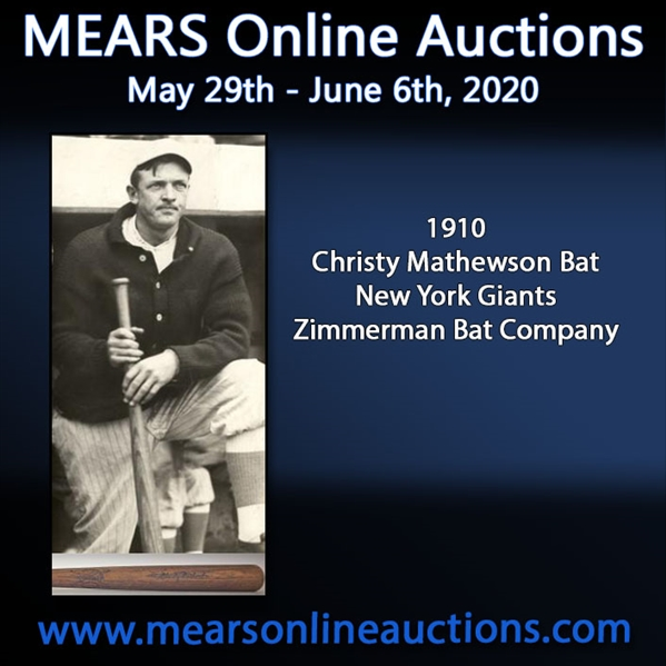 1910 circa Christy Mathewson New York Giants Zimmerman Signature Model Bat (MEARS LOA)