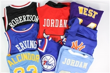 1990s-2000s Throwback Basketball Apparel Collection - Lot of 8 w/ Michael Jordan, Lew Alcindor, Julius Erving & More