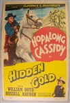 "1940 Hopalong Cassidy in Hidden Gold 27"" x 41"" Mounted One Sheet Movie Poster"