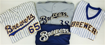 1990-2010 Milwaukee Brewers Jersey Collection - Lot of 4 w/ Luis Vizcaino Signed Throwback, Matt Wise, George Kottaras Signed Batting Practice & More (MEARS LOA)