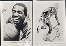 "1970s Curly Neal Meadowlark Lemon Harlem Globetrotters 5"" x 7"" Facsimile Signed Photos - Lot of 2"