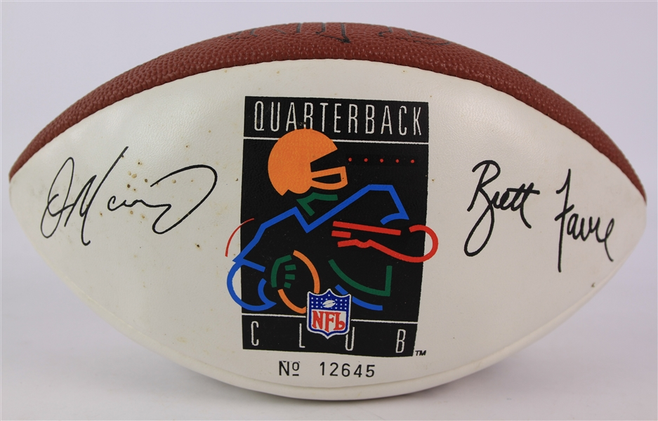 2000s Brett Favre Dan Marino Troy Aikman John Elway Jim Kelly Facsimile Signed Quarterback Club Football