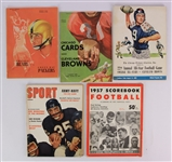 1955-57 Football Publications - Lot of 5 w/ College All Stars, Cleveland Browns, Chicago Bears, Chicago Cardinals, Green Bay Packers Programs & More