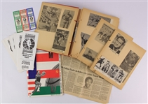 1940s-80s Football Basketball Memorabilia Collection - Lot of 20 w/ Vintage Football Scrapbook & 1987 McDonalds Basketball Open Program, Ticket Strip & More