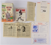 1970s-90s Hank Aaron Atlanta Braves Memorabilia Collection - Lot of 6 w/ Signed SME Commemorative Baseball Card & More