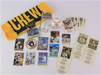 1980s-2000s Milwaukee Brewers Memorabilia - Lot of 50+ w/ All Star Game Pint Glass, Yount Molitor Police Trading Cards & More
