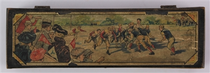 "1900s Football Scene 2.25"" x 8"" x 1.5"" Hinged Wooden Pencil Box"