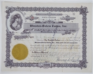 1954 Winston-Salem Twins North Carolina Capital Stock Certificate & Certified Letter of Stock Transfer