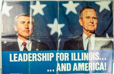 "1992 George HW Bush Jim Edgar 24"" x 36"" Leadership for Illinois...And America Poster"