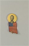 "1896 Abraham Lincoln 16th President of the United States 1 1/8"" Pinback Button w/ American Flag Ribbon"
