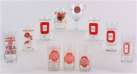 1965-2008 Ohio State Buckeyes Football Commemorative Drinking Glasses - Lot of 11