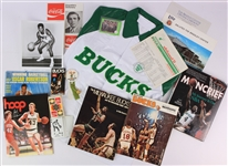 1970s-80s Milwaukee Bucks Memorabilia Collection - Lot of 16 w/ Oscar Robertson Press Photo, Stadium Giveaway Rain Jacket, Sidney Moncrief Signed Book & More (JSA)