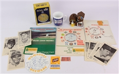 1968-2000s Milwaukee Brewers Memorabilia Collection - Lot of 17 w/ Programs, MIB Bob Uecker Talking Alarm Clock, Bernies Chalet Piggy Bank & More