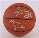 2000s Sidney Moncrief Marques Johnson Milwaukee Bucks Signed Basketball (JSA)
