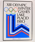 "1980 Jim Craig Steve Janaszak USA Hockey Signed 19"" x 24"" XIII Olympic Winter Game Lake Placid Poster (JSA)"