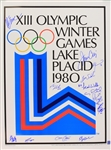 "1980 USA Hockey Team Signed 19"" x 24"" XIII Olympic Winter Game Lake Placid Poster w/ 14 Signatures Including Jim Craig, Mike Eruzione, Steve Janaszak & More (JSA)"