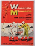 1956 (November 24) Wisconsin Badgers Minnesota Golden Gophers Camp Randall Stadium Football Program