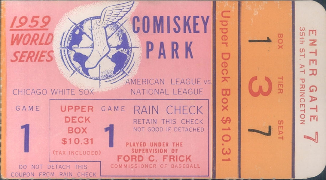 1959 Chicago White Sox Los Angeles Dodgers World Series Game 1 Comiskey Park Ticket Stub