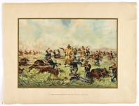"1899 US Army General Custer Massacre at Big Horn 13"" x 17.25"" Werner Company Lithograph"