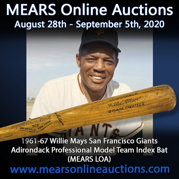 1961-67 Willie Mays San Francisco Giants Adirondack Professional Model Team Index Bat (MEARS LOA)