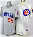 1997-2011 Chicago Cubs Signed Game Worn Jerseys - Lot of 2 w/ 1997 Brian McRae Road & 2011 Bob Dernier Home (MEARS LOA/JSA)