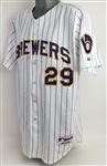 "2006 Dale Sveum Milwaukee Brewers Signed Game Worn Retro Pinstripe ""Shirt Off Your Back"" Jersey (MEARS LOA/JSA)"