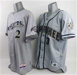 1998-2009 Milwaukee Brewers Game Worn Road Jerseys - Lot of w/ Phil Garner Signed & Bill Hall (MEARS LOA/JSA)